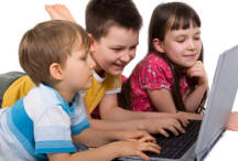 children safely surfing internet from laptop computer