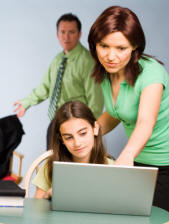 parents teaching children of internet dangers from pedophiles